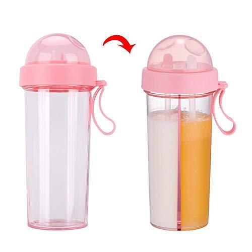 Oumefar Dual-Use Verschleißfester Getränkebecher Zwei Strohhalme PC-Wasserflasche für die Reise für Cola(Pink)