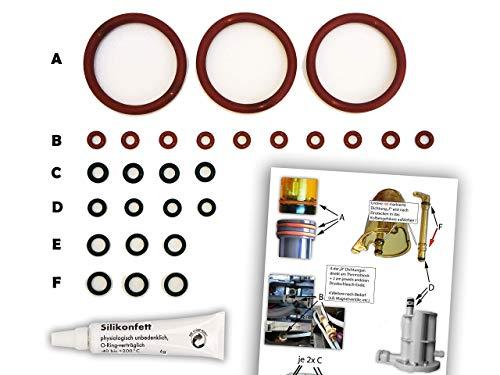 Dichtungen/Wartungsset (XL) für DeLonghi ESAM Thermoblock & Brüheinheit | O-Ringe | TOP Qualität (EPDM & VMQ) | Dichtungsringe inkl. Silikonfett und Bild-Übersicht (z.B. für ESAM 3000, 5500, 6600)