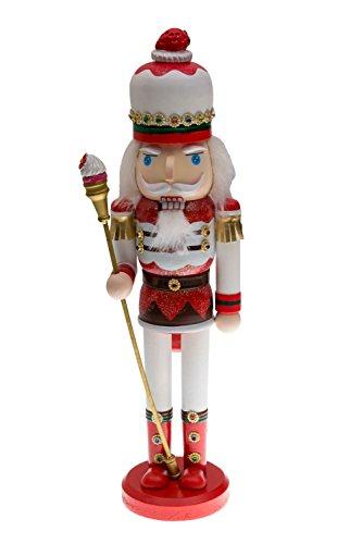 Clever Creations - Weihnachtlicher Nussknacker aus Holz - Süßigkeiten-Design - traditionelle Weihnachtsdeko - toll für Jede Sammlung - Weiß, Rot, Braun