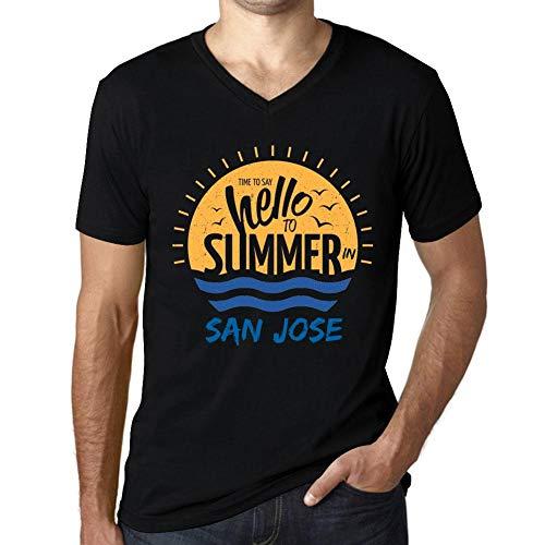 Hombre Camiseta Vintage Cuello V T-Shirt Gráfico Time To Say Hello To Summer In San Jose Negro Profundo