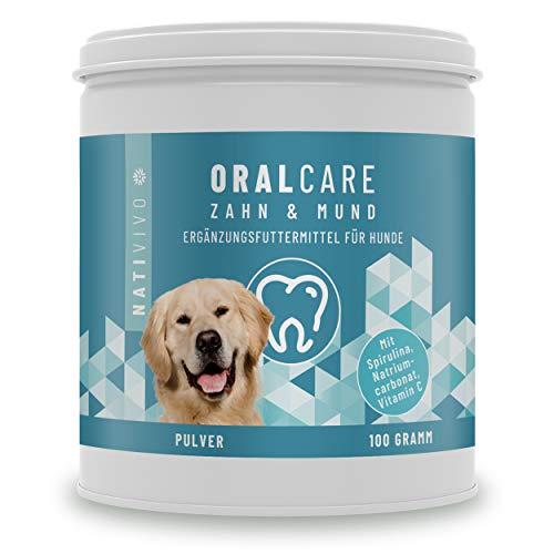 Hunde Zahnpflege bei Zahnstein & Mundgeruch + Einfache Futterzugabe | NatiVivo® OralCare | 100g Pulver – regelmäßige Zahnreinigung - ohne Zahnpasta