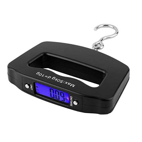 TWDYC Las PC 1 balanza Digital, 50kg 50000G / 10g Portable de la Pesca Colgante Digital LCD Digital Escala Escala electrónica Enganche Peso del Equipaje de Tara y la función Automatic Power (Negro)