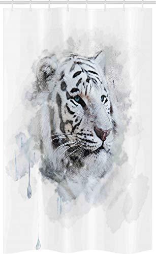 ABAKUHAUS Dier Douchegordijn, White Tiger Portrait, voor Douchecabine Stoffen Badkamer Decoratie Set met Ophangringen, 120 x 180 cm, Zwart Grijs Wit