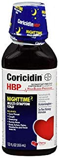 Coricidin HBP Nighttime Multi-Symptom Cold Liquid Cherry 12 oz (Pack of 2)
