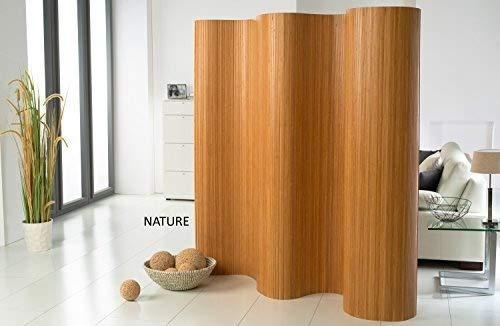DE-COmmerce l Doppelseitiger Bambus Paravent (BxH) 120-180 cm x 185 cm l Raumteiler l Trennwandl  Faltwand l Shoji l Sichtschutz Nature