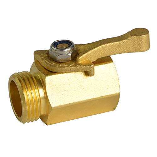 "HYDRO MASTER Heavy Duty 3/4"" Brass Shut Off Valve with Large Handle, Full Flow Garden Hose Connector"