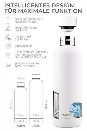MAMEIDO Borraccia Termica Acciaio Inox, Bottiglia Termos Acqua 750 ml, Riutilizzabile, Senza BPA, per Adulti, Bambini