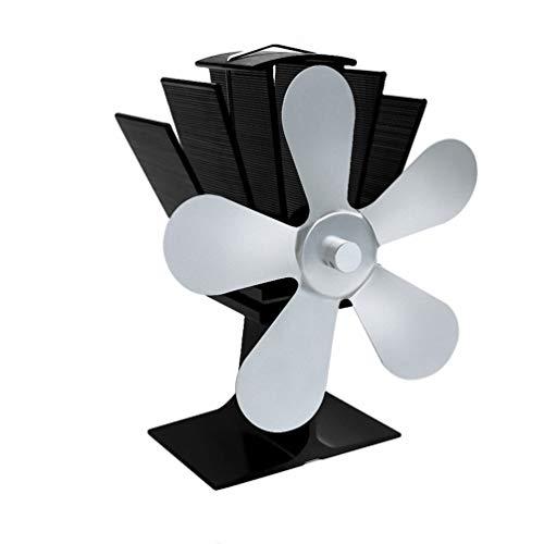 Ventilador de la estufa de 5 láminas-silencioso, calor accionado de madera/ventilador de...