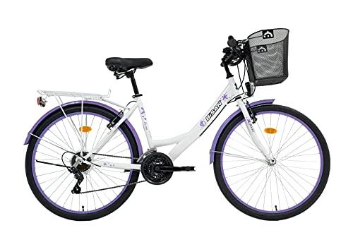 T&Y Trade 24 Zoll Kinder Mädchen Damen City Fahrrad Damenfahrrad Cityfahrrad Citybike Mädchenfahrrad Bike Rad 21 Gang 5100 Weiss LILA