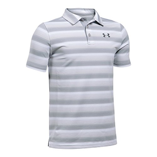 Under Armour Boys' Playoff Stripe Polo Shirt,White (104)/Rhino Gray, Youth Medium