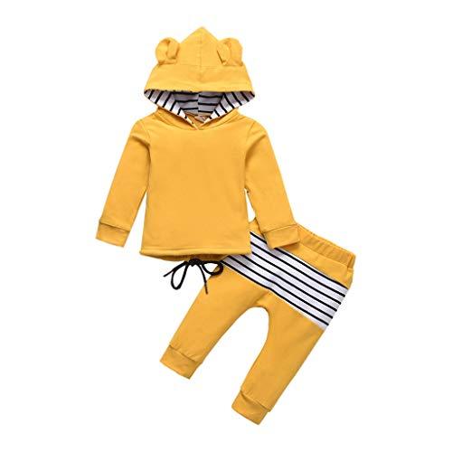 Kleinkind Outfits Set Baby Jungen Mädchen Kapuzenohren Hoodie Sweatshirt + Streifenhose Bekleidungsset, Gelb, 3-4 Jahre