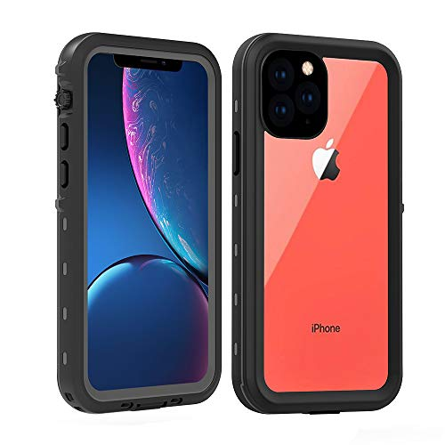 Redpepper iPhone 11 PRO Case,Waterproof IP68 Full Body with Built-in Screen Protector Rugged Bumper Clear Back Cover Case for Apple iPhone 11 Pro 5.8 inch (Black/Clear)