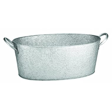 TableCraft GT2313 Oval Beverage Tub Galvanized Pebbled Texture, 23 by 9.25 by 7.75-Inch