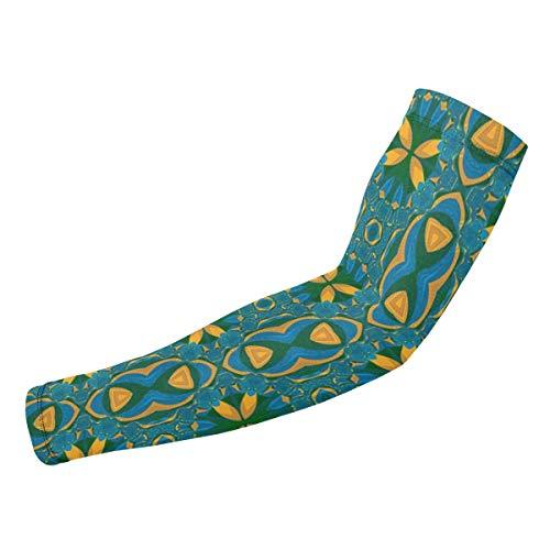 Rterss nahtloses Tapetenmuster, grüne Zeichnung, personalisierte Armschützer, Sonnenschutz, warm, Unisex, Outdoor-Sport, 1 Paar