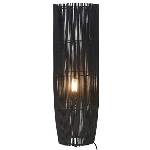 Cikonielf Bambus-Stehlampe aus Weide, Rattan, E27, Bodenleuchte aus Weide, für die Dekoration des Wohnzimmers, 26 x 84 cm, (Glühbirne ist nicht im Lieferumfang enthalten), Schwarz