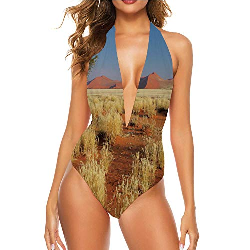 Desert Landscape with Grasses,Women One Piece Swimsuit V-Neck Bathing Suit red d Dunes and an African Acacia Tree 2XL