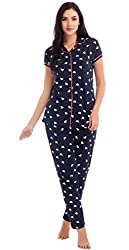 ZEYO Womens Cotton Light Pink & Navy Blue Heart Print Night Suit