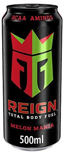 Reign Melon Mania - Bebida energética de alto rendimiento, cafeína natural, zero azúcar, zero calorías y BCAA - Lata 500 ml