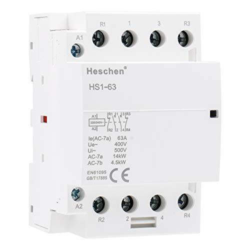 Heschen Haushalts-Wechselstromschütz, HS1-63, 4-polig, 2NO, 2NC, 220V/240V, Spulenspannung, 35 mm, DIN-Schienenhalterung