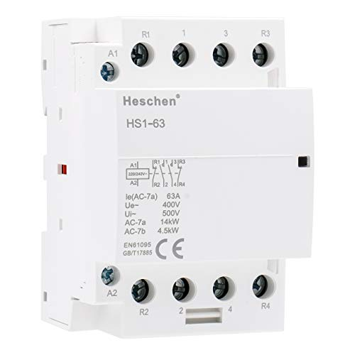 Heschen Contactor de CA para el hogar HS1-63 4 polos 2NO 2NC...