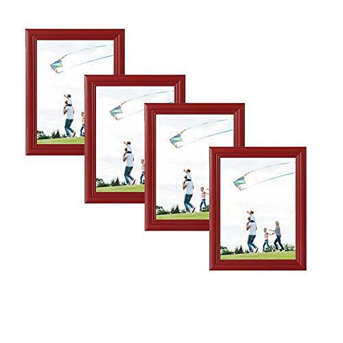 eSituro Marcos de Fotos Originales Moderno de Estilo Vintage 4 Fotos Tableros de Madera Gift 30x40 cm para Regalo, Cumpleaños Rojo