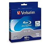 Verbatim BD-R 25GB 16X Blu-ray Recordable Media Disc - 10 Pack Spindle - 97238
