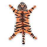 suoryisrty Creativo Cartone Animato Forma di Tigre Floccaggio Porta d'ingresso Tappeto Tappeto da Bagno Assorbente Casa Antiscivolo TPR Fondo Morbido Tappeto di Peluche Tappeto