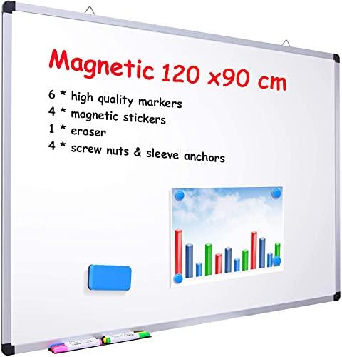 Magnetisches Whiteboard, 120 × 90 cm, Ohuhu Großes Whiteboard Wiederbeschreibbar Weißtafel mit Aluminiumrahmen und Stifteablage 8 whiteboard stifte, Trocken Abwischbar, zur Wandmontage