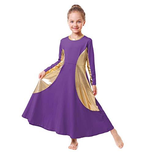 Little/Big Girls Angel Wing Shimmery Dance Praise Robe Dress Worship Ballet Costume Swing Maxi Gown Professional Dance to Ballet Praisewear Purple+Gold 9-10 Years