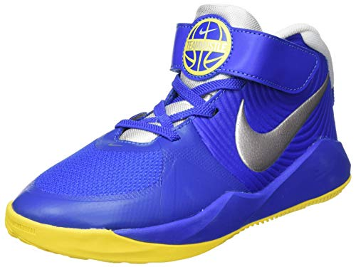 Nike Team Hustle D 9 (PS) Basketball Shoe, Game Royal/Metallic Silver-Photon Dust-Speed Yellow, 27.5 EU