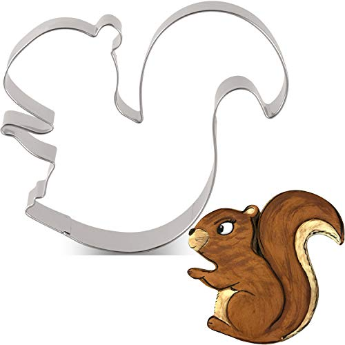 LILIAO Squirrel Cookie Cutter - 3.8 x 4 inches - Woodland Animal Biscuit and Fondant Cutters - Stainless Steel