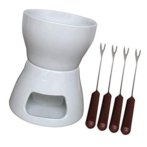 Sits Juego de Fondue de Chocolate de cerámica con Tenedores y Tetera de Porcelana Ligera