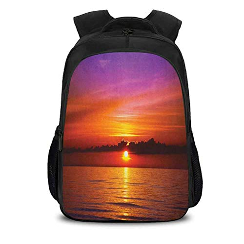 Business Anti-Theft Ultra-Thin and Durable Backpack, Ocean Romantic Sunset on The Beach Sun Rays Reflection on The Sea Colorfu, for Travel/Business/College/Women/Men, W10.6 x H15.7In