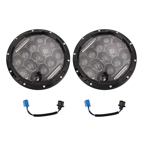 Qiilu High/Low Beam 7 inch ronde LED hoge, aluminium koplampen met adapters Fit voor JK TJ LJ Wrangle