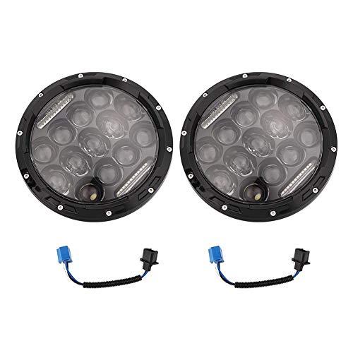 Qiilu High/Low Beam 7 inch ronde LED hoge, aluminium koplampen met adapters Fit voor JK TJ LJ Wrangle