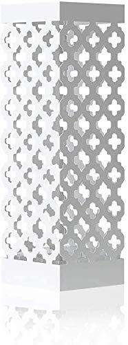 HAITRAL Regenschirmständer aus Metall, Quadratischer Schirmständer Mit 2 Haken, Wasserauffangschale Herausnehmbar, Weiß