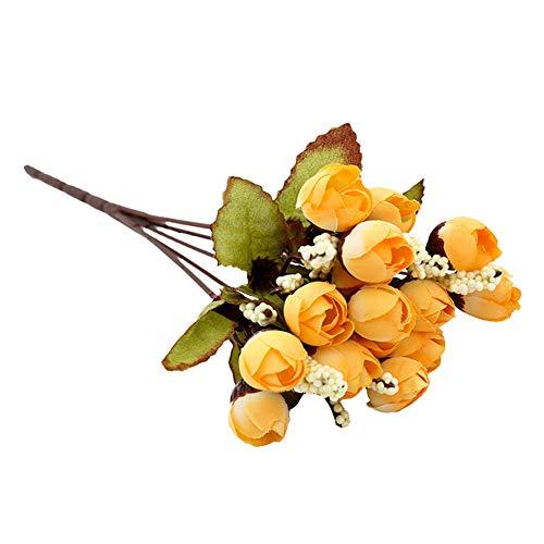HotYou Ramo de Rosas Artificiales de Seda, 7 Tallos y 5 capullos/unidade, 3 Unidades,Amarillo,3 Ramos