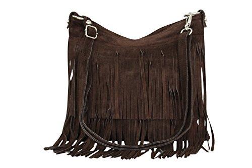 AMBRA Moda Damen Handtasche Ledertasche Umhängetasche Fransentasche Schultertasche Damentasche Wildleder 32 cm x 29 cm x 2 cm WL809 (Braun)