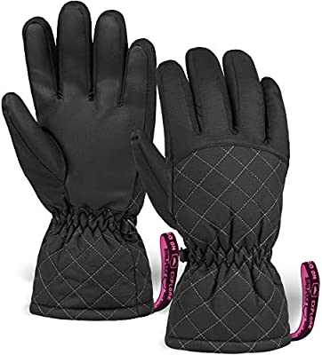 Womens Snow & Ski Gloves - Waterproof & Windproof Winter Snowboard Gloves for Cold Weather Skiing & Snowboarding - With Nylon Shell, Thermal Insulation, Synthetic Leather Palm & Wrist Straps