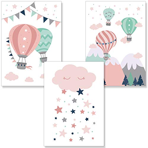 PREMYO Cuadros Infantiles Habitación Niña - Láminas Decorativas para Enmarcar - 3 Póster Globo Aerostático Nube Rosa A4