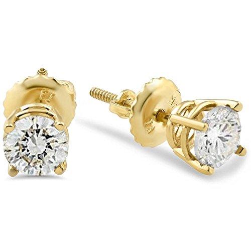 1/2ct Diamond Studs Screw Back Earrings 14k Yellow Gold (0.333 Ct Diamond Earrings)