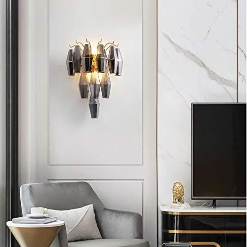 Yangmanini Lámpara De Pared Colgante De Cristal Gris 35 * 44cm Luz Cálida Dorada Pasillo De Lujo Europeo Comedor Sala De Estar Dormitorio Cama