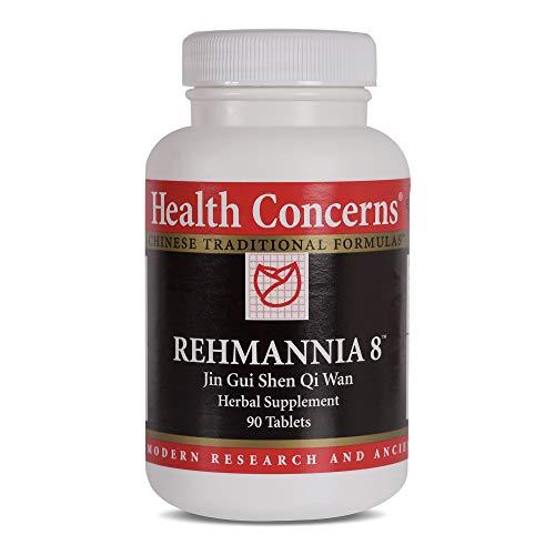 Health Concerns - Rehmannia 8 - Jin GUI Shen Qi Wan Suplemento de ervas chinesas - Alívio de dor nas costas e suporte de envelhecimento - com raiz de rehmannia (cozida) - 90 unidades