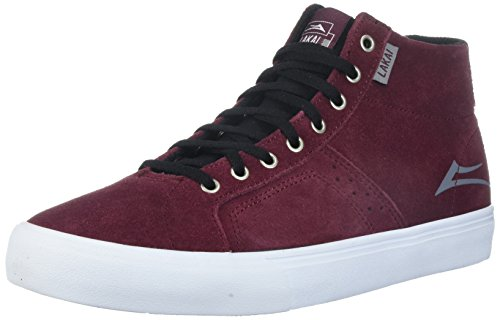 Lakai Men's Flaco HIGH Skate Shoe, Burgundy Suede, 7 M US