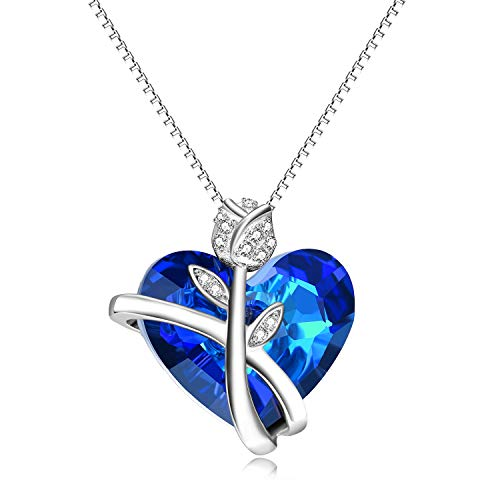 AOBOCO Sapphire Rose Necklaces for Women Wife Girlfriend Sterling Silver Swarovski Blue Heart Crystals Jewelry Anniversary Birthday Gift for Her Fiance Daughter Lover Sister Friend Rose Heart Blue
