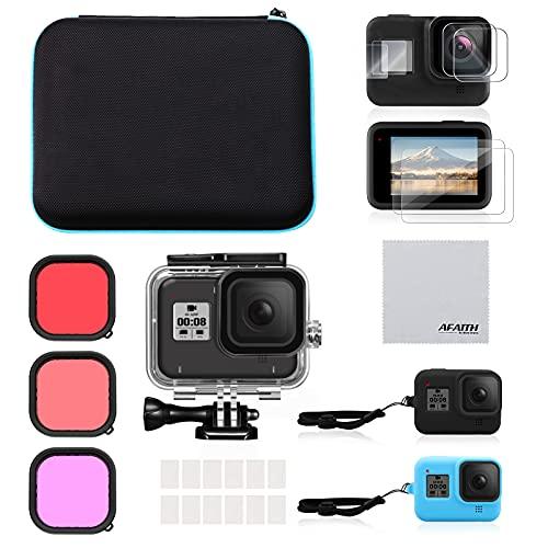 AFAITH Kit di Accessori Set per GoPro Hero 8 Black,Custodia Antiurto da Trasporto+Custodia Impermeabile Subacqueo+Filtri per Immersioni+Custodia Silicone+Pellicola Protettiva+Anti-appannamento