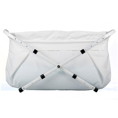 BiBaBad Kinder und Baby Falt Badewanne - Kinderbadewanne mit Gestell für die Dusche Weiß 60-80 cm