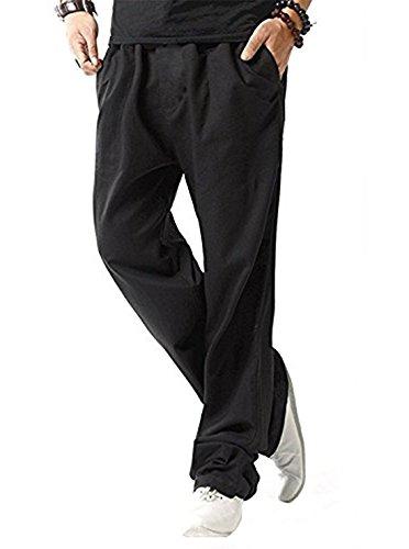 SIR7 Men's Linen Casual Lightweight Drawstrintg Elastic Waist Summer Beach Pants Black L