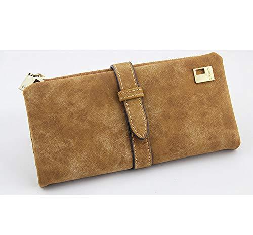 YUHUANG lange twee packs, vrouwen vouwen portemonnee met lederen koord met rits suède portemonnee dames en vrouwen handtas