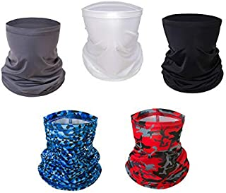 nobrand 5 Pack Neck Gaiter Face Mask UV Sun Protection 50+ Bandanas Magic Face Cover Scarf Dust Wind for Fishing Hiking Cy...